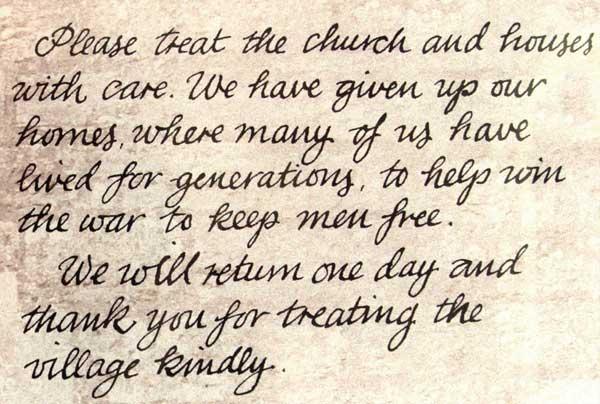 note left by villagers on Tyneham church door