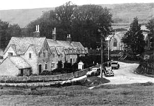 black and white photo of tyneham village